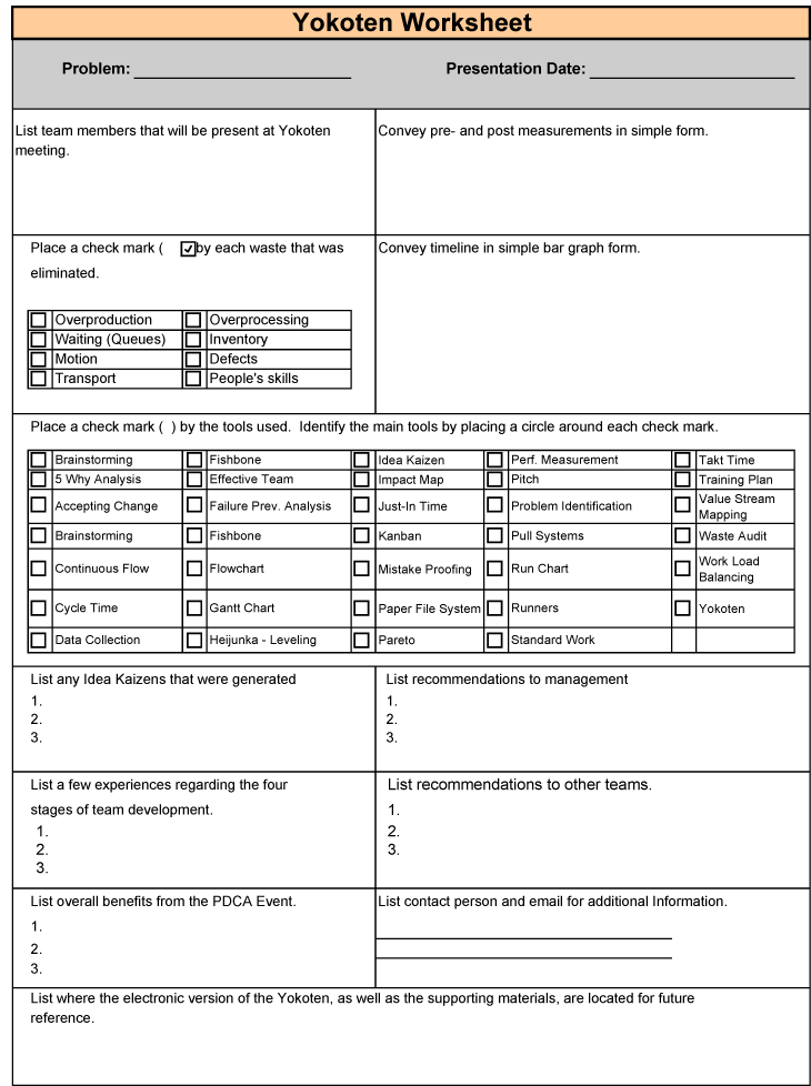 Lean 5s Worksheet : Today s lean using to organize areas and files the